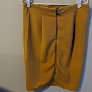 Zipper Mustard Stretchy Pencil Pointe Skirt